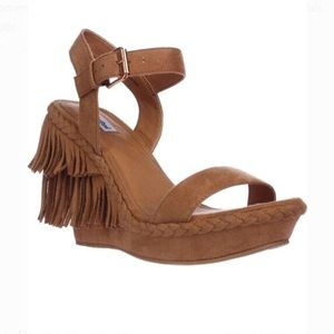 Not Rated Roaring Ruby Nude Open Toe Fringe Wedge